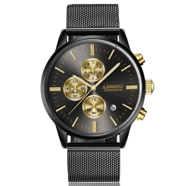 golden perfection premium cheap luxury watch black