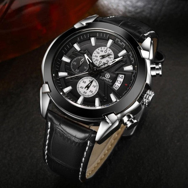 black line premium luxury cheap watch black silver