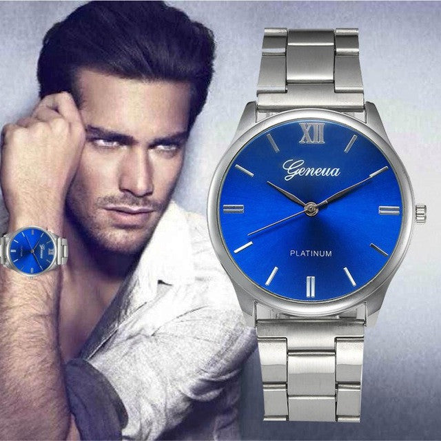 genova lux free watches blue wristwatch