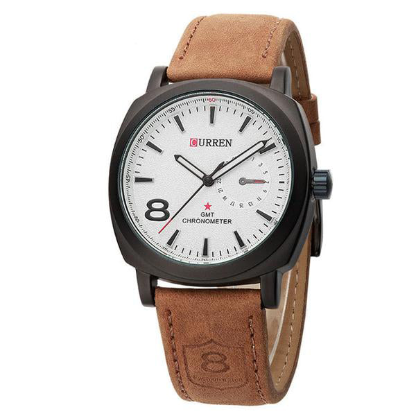 leather man premium cheap luxury watch white brown leather