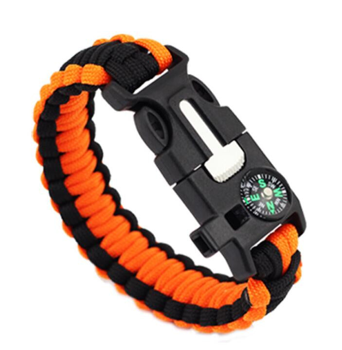 paracord survival free bracelet survival kit orange