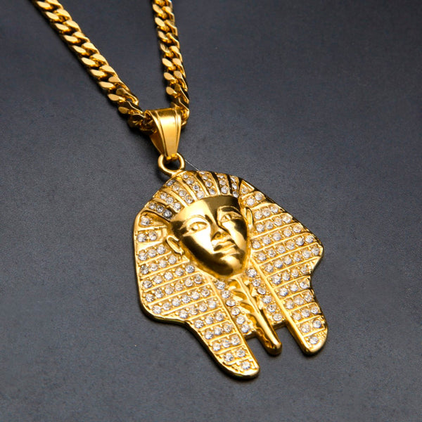 Pharaoh tutankhamun gold pendant long chain for men necklace aloadofball Image collections