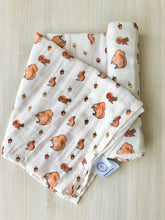 Organic Cotton + Bamboo muslin blanket - London Squirrels
