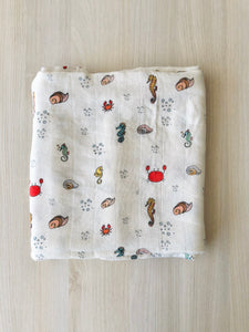 Organic Cotton + Bamboo muslin blankets - Under the Sea