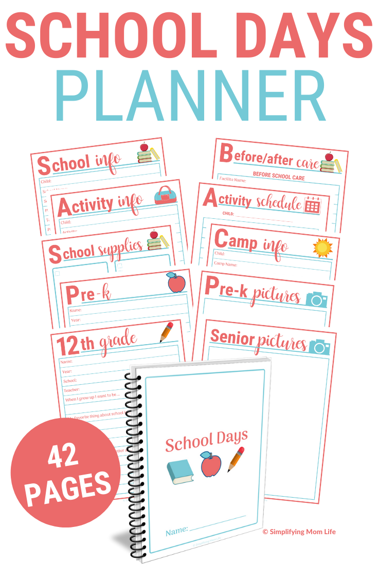 School Days Planner - New Mom Organization | Back to School Printables and Checklists | First Day of School Pictures Printables | New Mom Gift