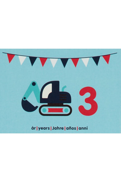 3rd Birthday Card - Motive - Excavator - Maxomorra Accessories - Snugglefox