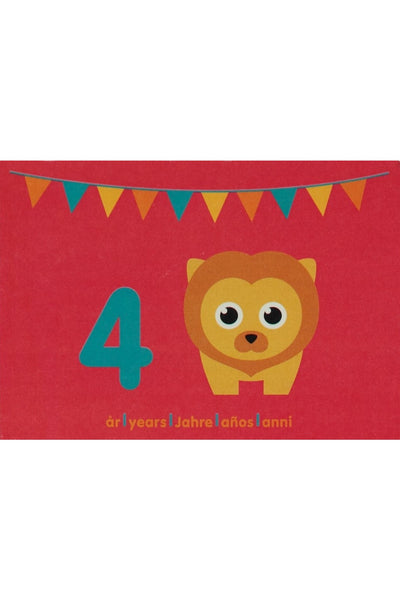 4th Birthday Card - Motive - Lion - Maxomorra Accessories - Snugglefox