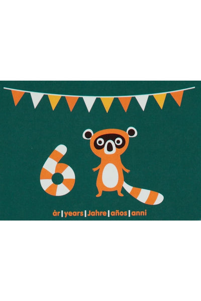 6th Birthday Card - Motive - Raccoon - Maxomorra Accessories - Snugglefox