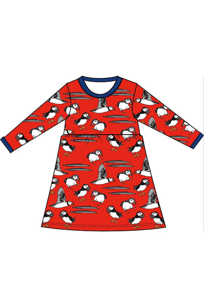 Dress Long Sleeve Twirly Puffins Red - DUNS