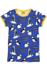 Mama DUNS Short Sleeve Puffins Top Blue - DUNS