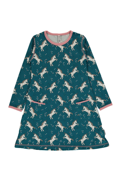 Unicorn - Dreams - Long - Sleeve - Dress - Maxomorra Fashion - Snugglefox