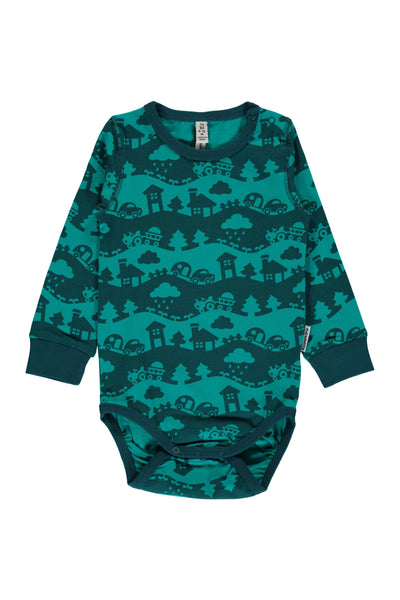 Turquoise - Landscape - Body - Long - Sleeve - Maxomorra Fashion - Snugglefox