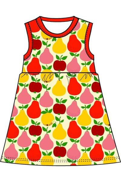 Mama Duns Dress Sleeveless with gather Skirt Fruits, Mandarin Red & Yellow - DUNS Adult Fashion - Snugglefox