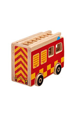 Natural Fire Engine + 3 people from back - Lanka Kade Toys - Snugglefox