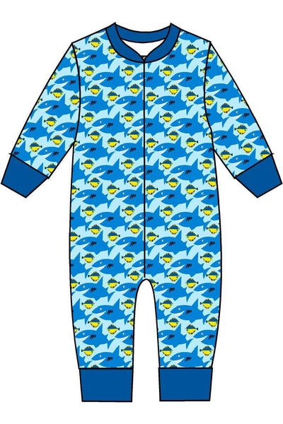 Zip Suit Sharky Sky Light Blue - DUNS Fashion - Snugglefox
