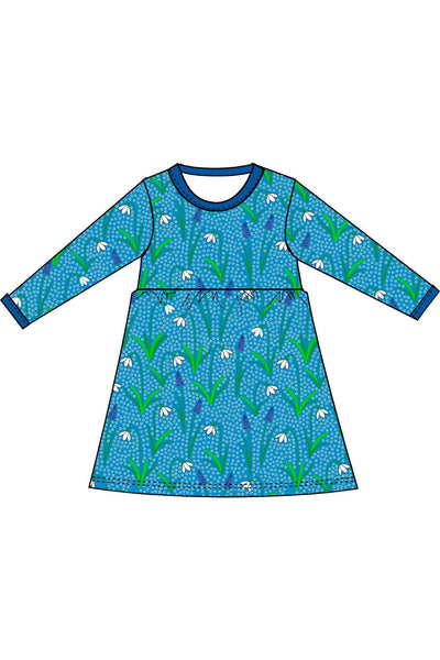 Mama - DUNS - Snowdrop - Blue - Long Sleeve - Dress with gather skirt - DUNS Adult Fashion - Snugglefox