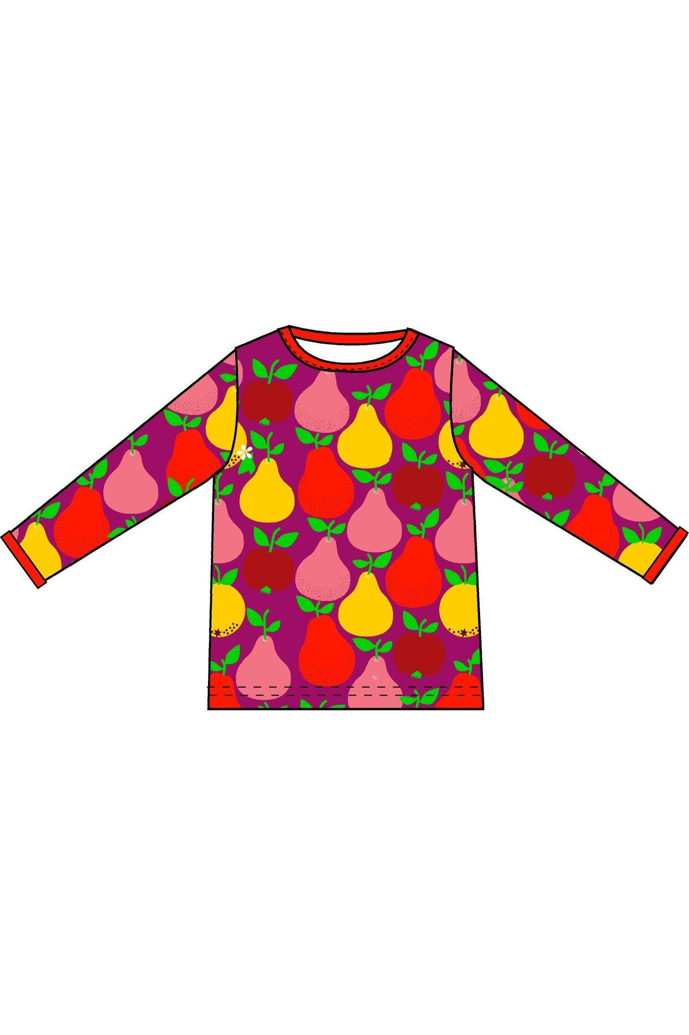 Mama DUNS Long Sleeve Top Fruits, Mandarin Red/ Boysenberry - DUNS Adult Fashion - Snugglefox