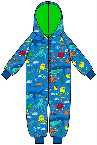 Lined Suit with Hood Sea Life Blue - DUNS Fashion - Snugglefox