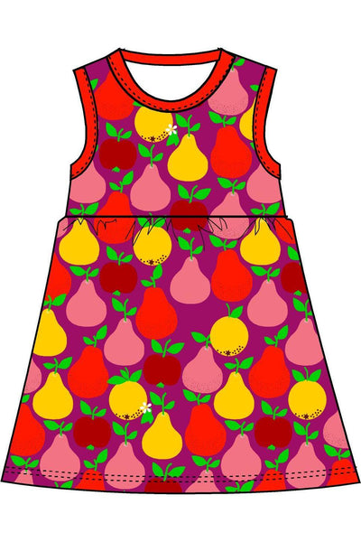 Mama Duns Dress Sleeveless with gather Skirt Fruits, Mandarin Red Boysenberry - DUNS Adult Fashion - Snugglefox