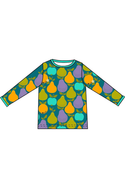 Mama DUNS Long Sleeve Top Fruits, Dark Teal/ Moss Green - DUNS Adult Fashion - Snugglefox