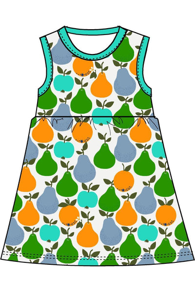 Mama Duns Dress Sleeveless with gather Skirt Fruits, Turquoise/ Green - DUNS Adult Fashion - Snugglefox