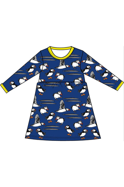 Long Sleeve Puffins Dress Blue with gather skirt - DUNS Fashion - Snugglefox