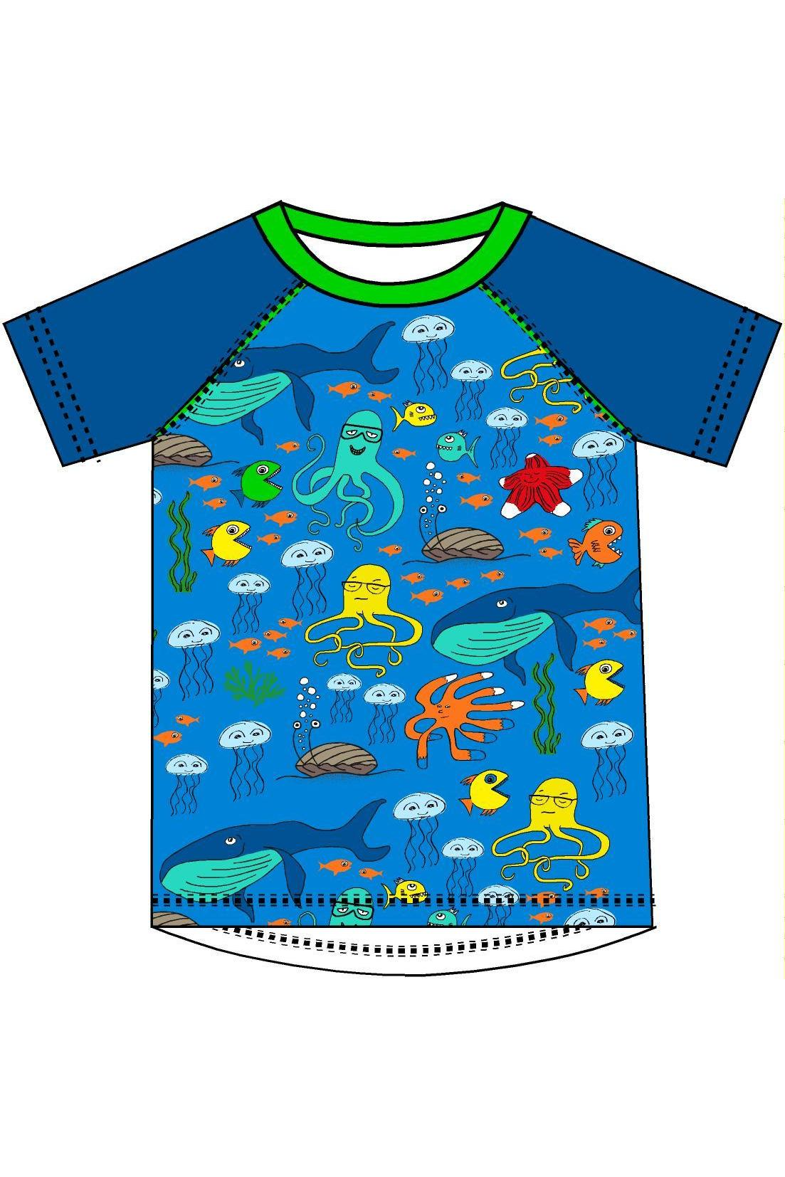 Short Sleeve Sea Life Blue Raglan Top - DUNS Fashion - Snugglefox
