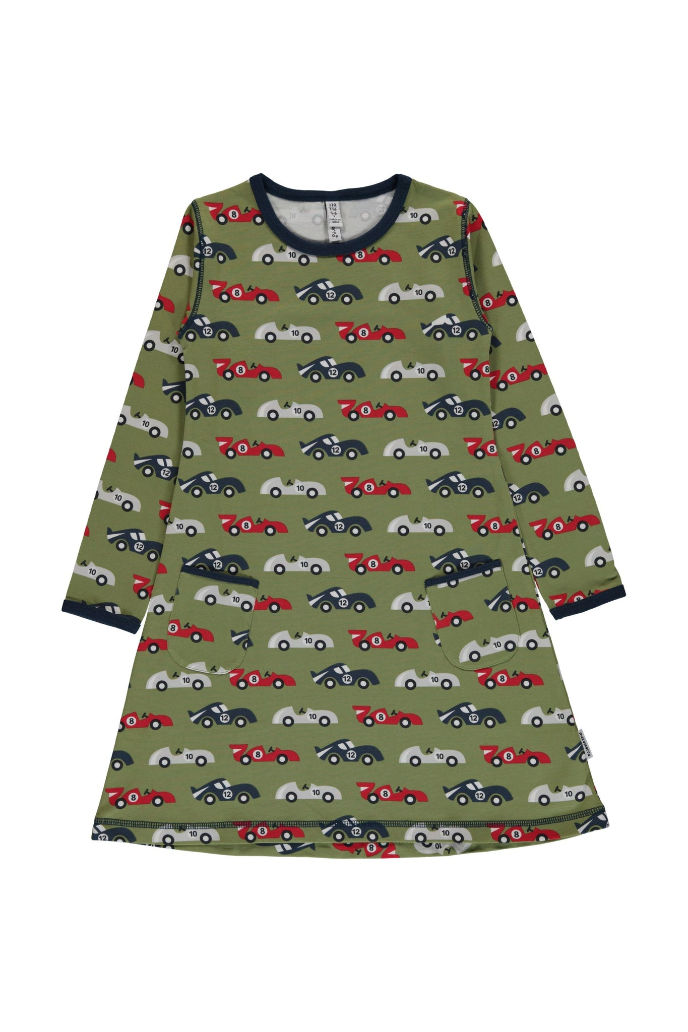 Race Cars - Long - Sleeve - Dress - Maxomorra Fashion - Snugglefox