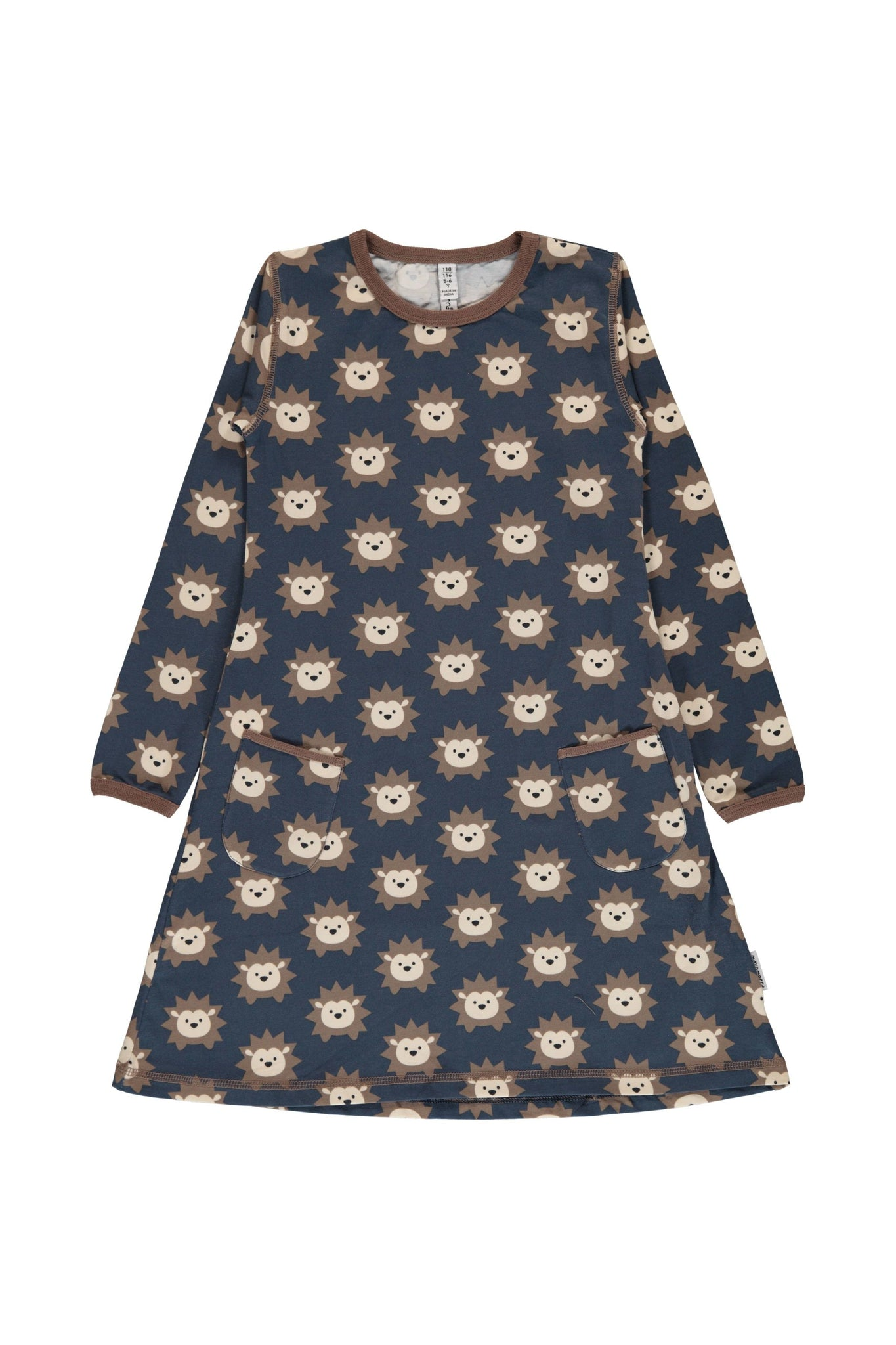 Hedgehog - A-Line - Dress - Long Sleeves - Maxomorra Fashion - Snugglefox