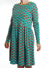 Mama - DUNS - Radish - Turquoise - Long Sleeve - Dress with gather skirt - DUNS