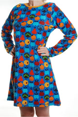 Mama - DUNS - Fruits Blue - Velour - Long Sleeve - A-Line Dress - DUNS