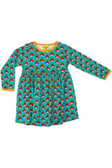 Mama - DUNS - Radish - Turquoise - Long Sleeve - Dress with gather skirt - DUNS Adult Fashion - Snugglefox