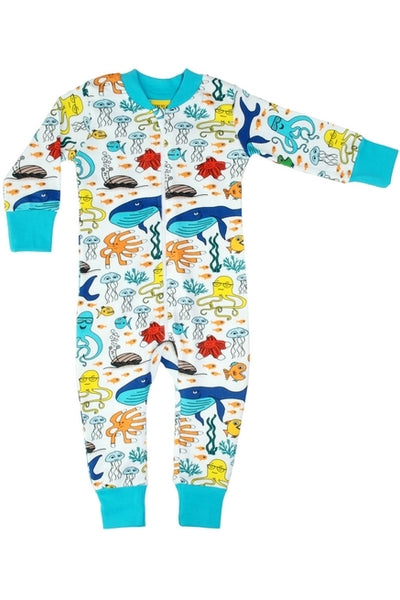 Zip Suit - Sea Life - White - DUNS Fashion - Snugglefox