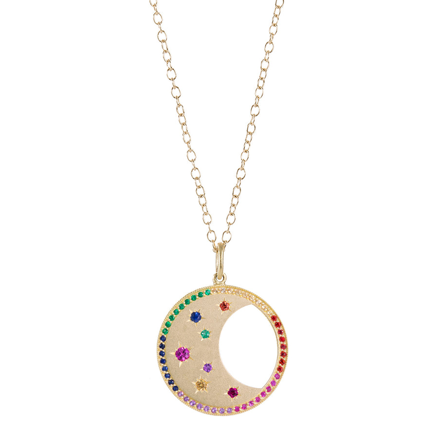 Collier lune diamants couleurs