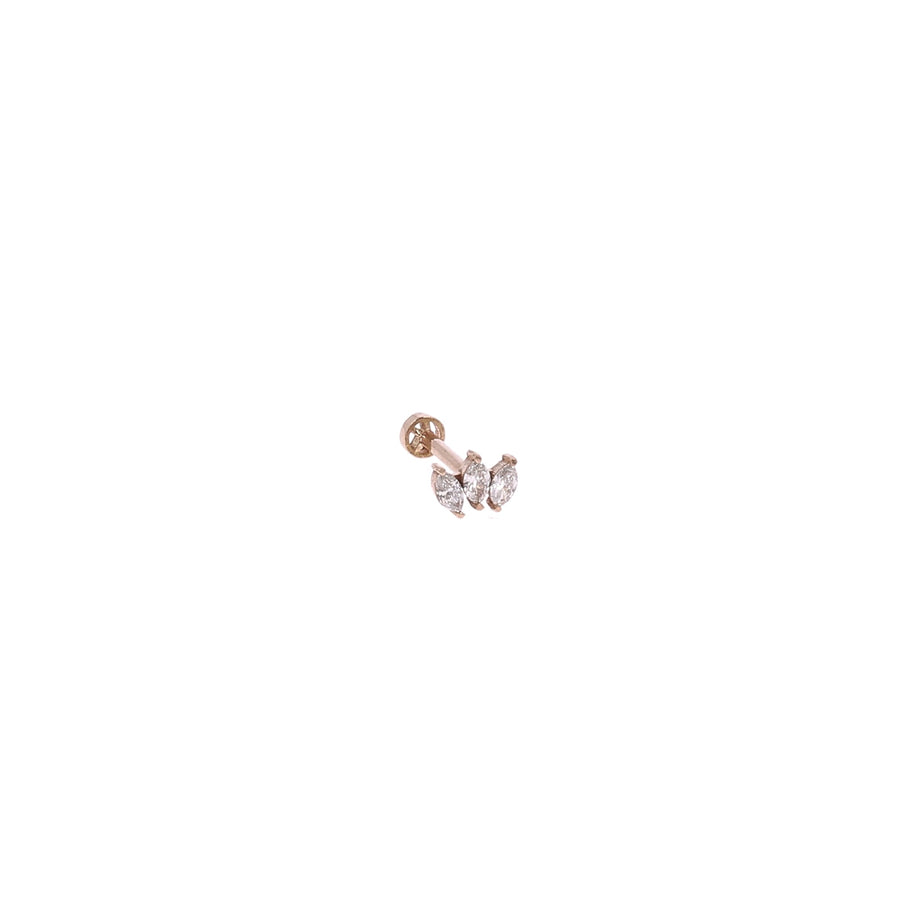 Boucle d'oreille 3 diamants or rose