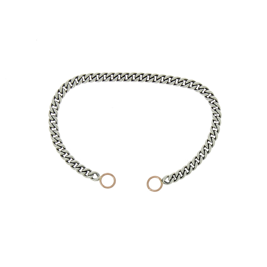 Bracelet heavy curb fermoir or rose