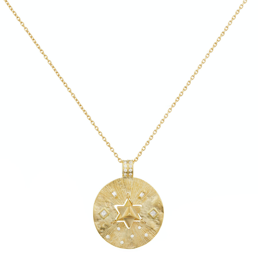 Collier Médaille Merkaba Diamants