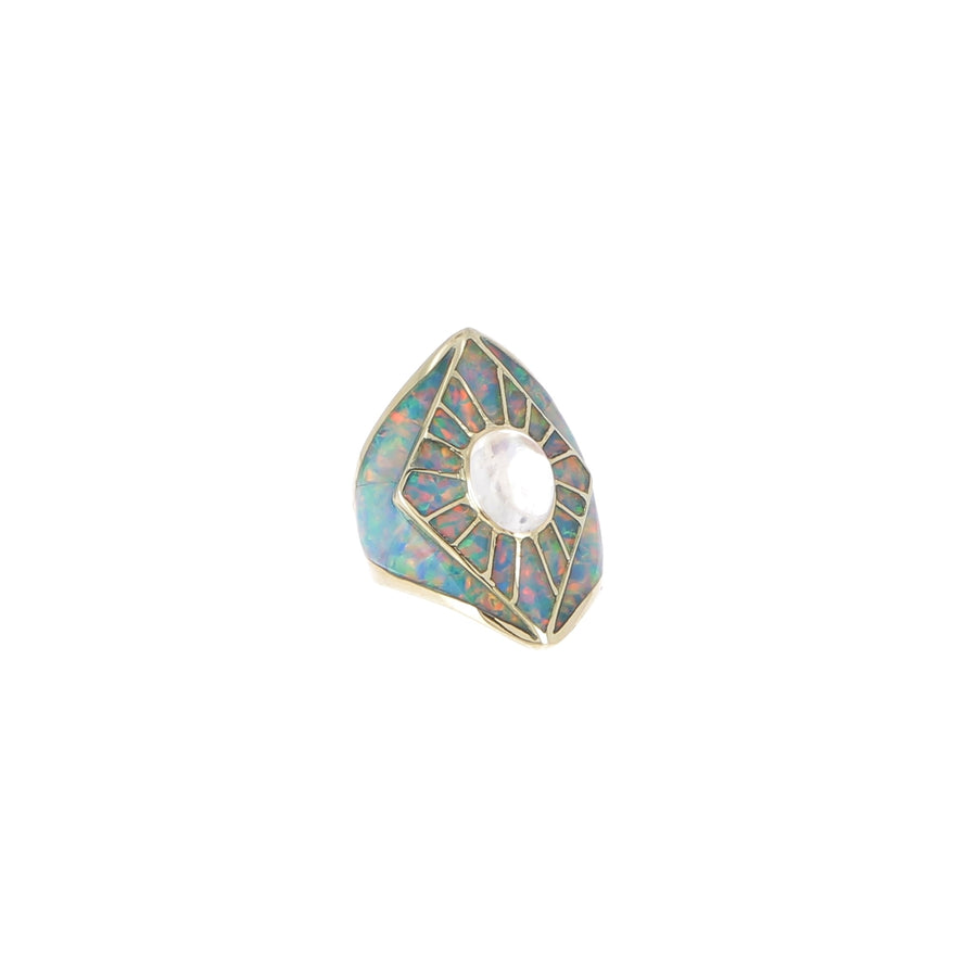 Bague Kite Shield Opal et Moonstone