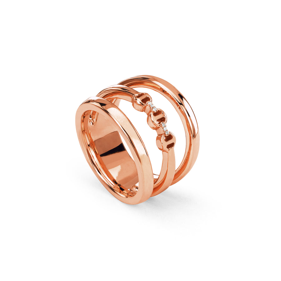 Bague Diamants Or Rose