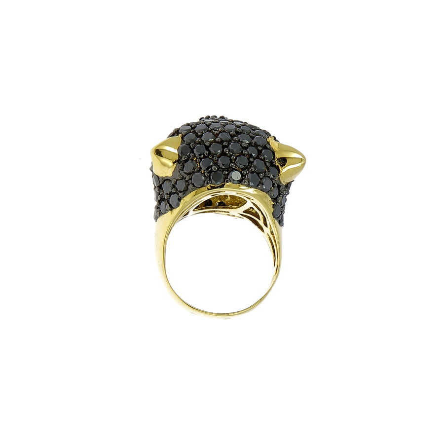 Bague Black Panther Diamants Noirs et Blancs