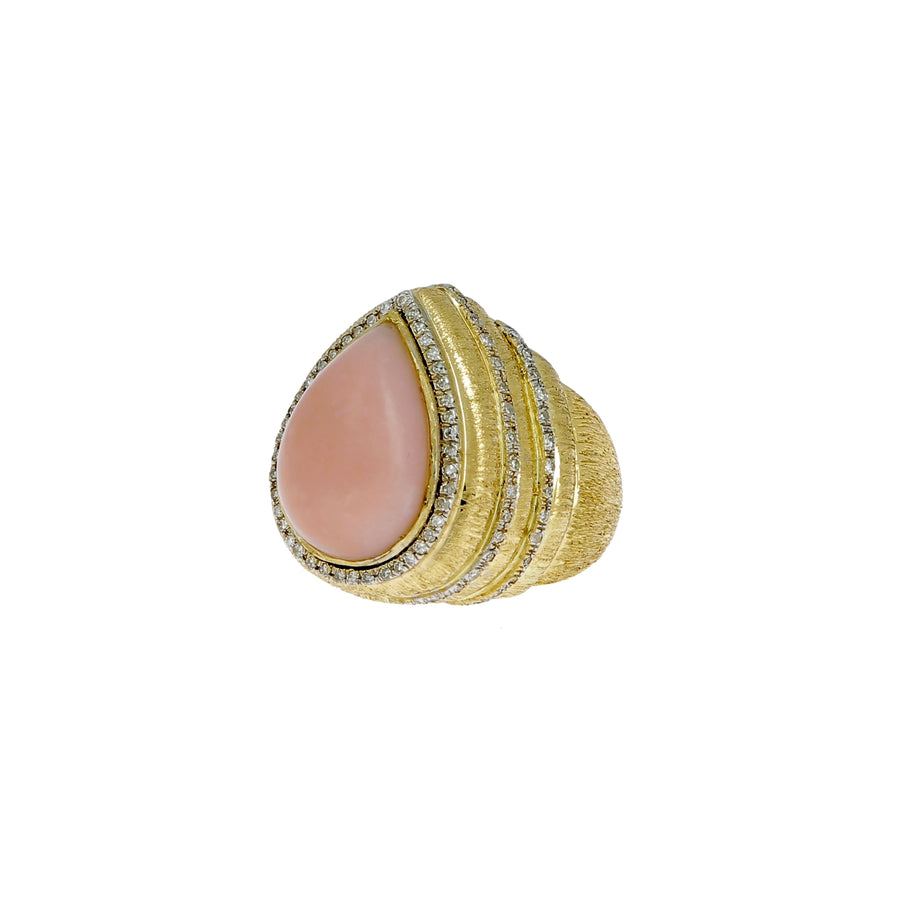Bague kalananga opale rose et diamants blancs