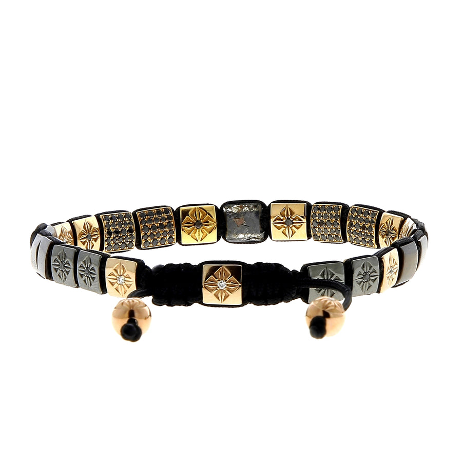 Bracelet Or Rose et Diamants Noirs Pavés