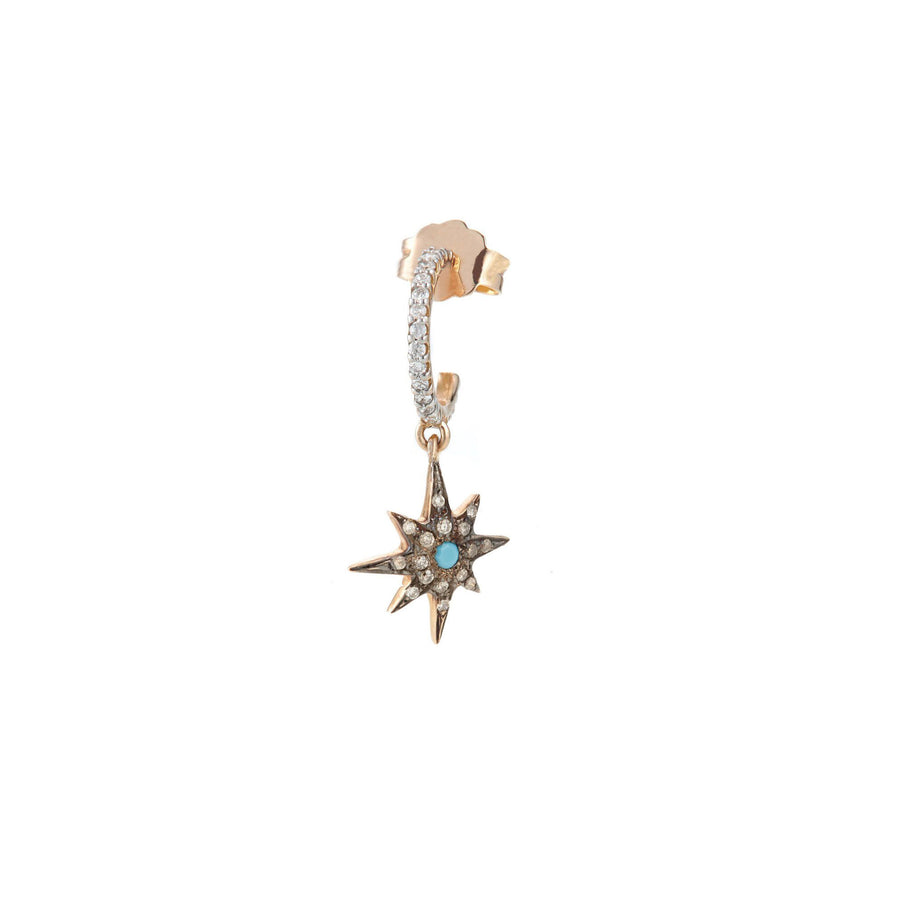 Boucle d'oreille Compass Star Turquoise Hoop