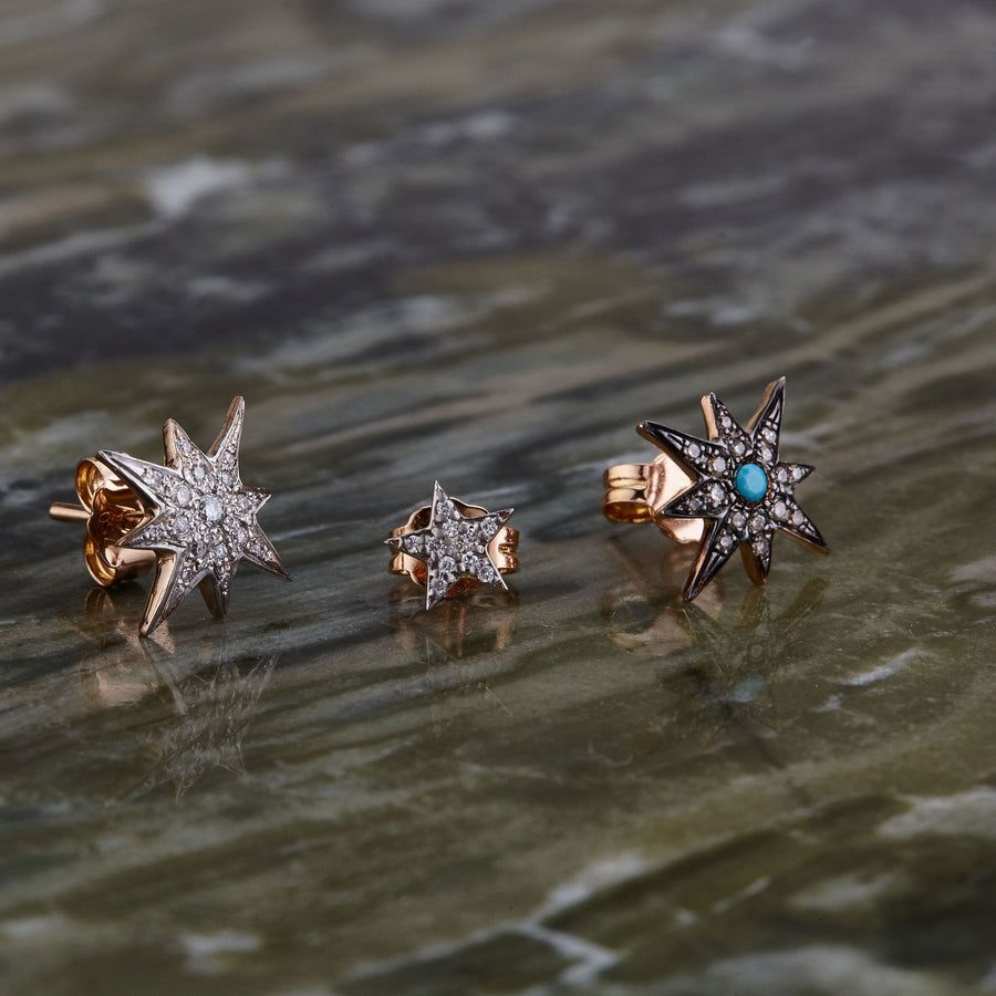 Boucle d'oreille Compass Star Turquoise Stud