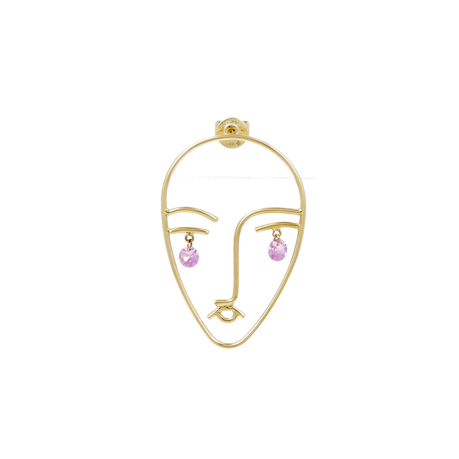 Boucle d'oreille Matisse 2 Saphirs Rose