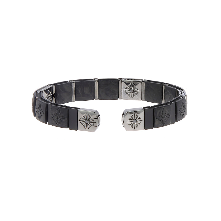 Bracelet en or blanc et diamants noirs pavés
