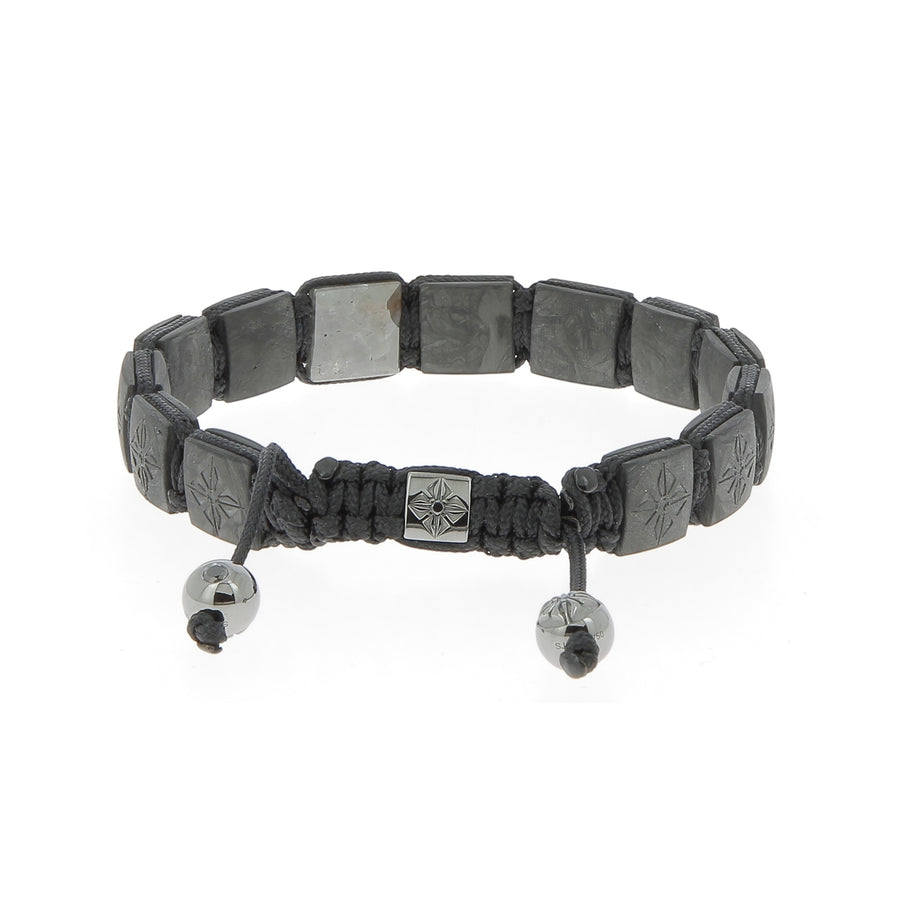 Bracelet en or blanc et diamants noirs