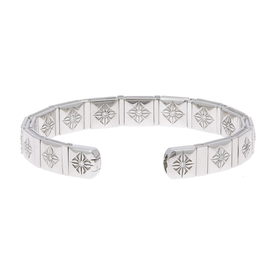 Bracelet or blanc et diamants blancs