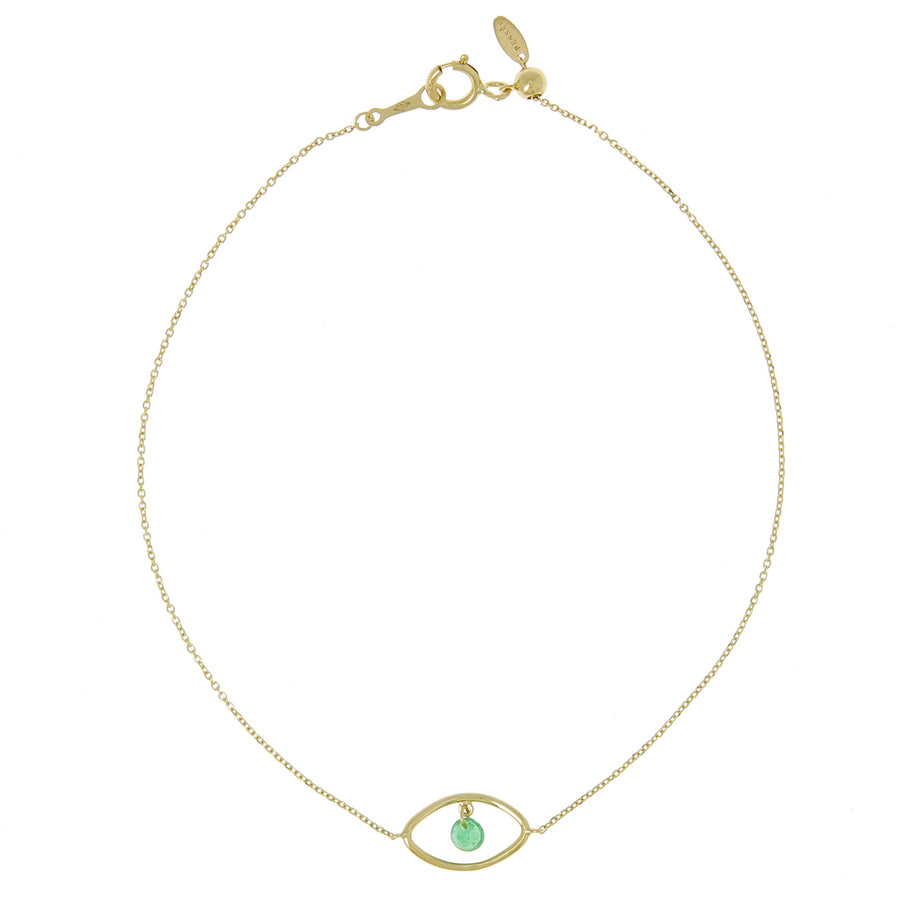 Bracelet Eye Emerald Or Jaune