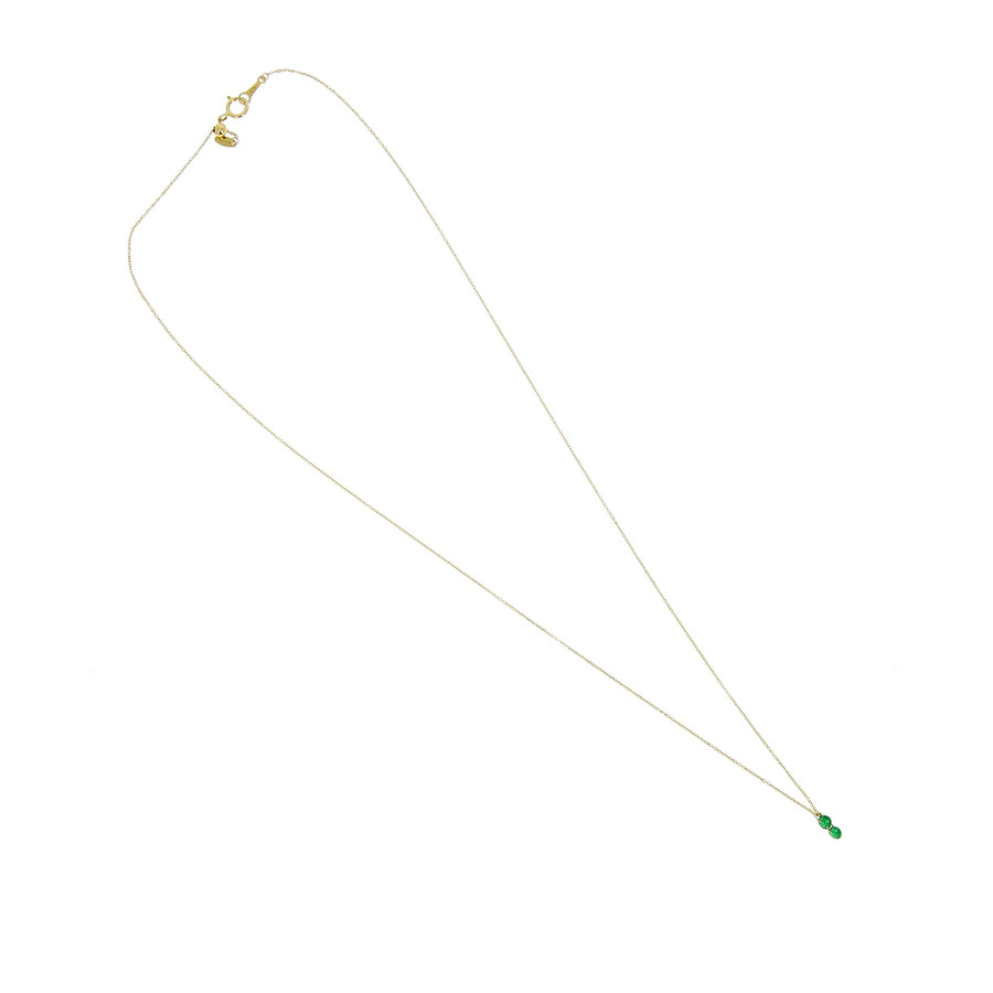 Collier Dancing Green 2 Emeraudes Or Jaune